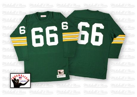 7c0e377f Green Bay Packers #66 Ray Nitschke Green Long-Sleeved Throwback Jersey