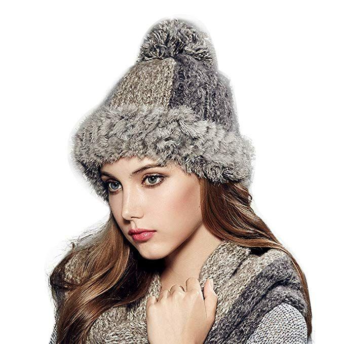 08cd3f4ed8c Kenmont Winter Women Lady Rabbit Fur Hand Knit Beanie Cap Ski Hat Review