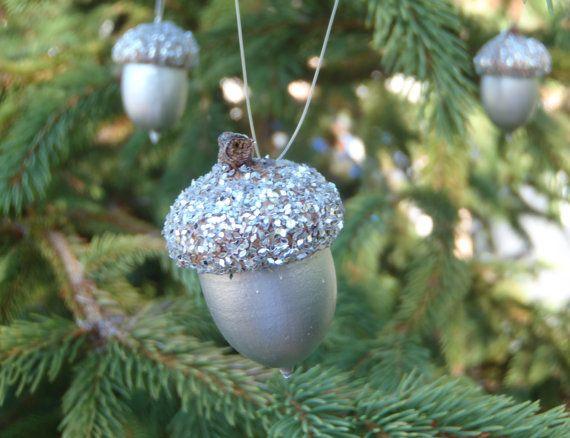 6 Real Acorn Christmas Tree Ornaments Silver by FeistyFarmersWife, $9.00