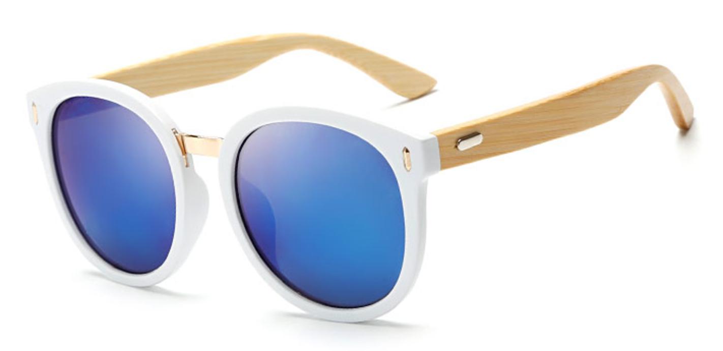 7296e848c7 Chic white frame bamboo cat eye sunglasses with blue polarized lenses for  men and women