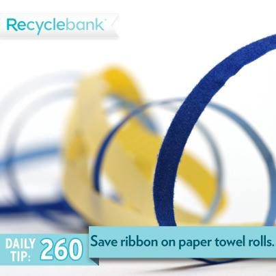 Recyclebank Store long ribbon saved from packages on a toilet paper or paper towel rolls.