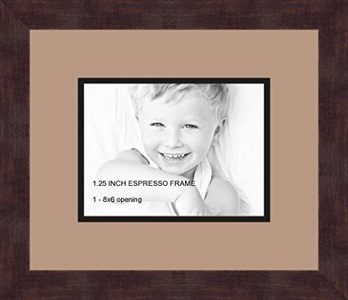 Art To Frames Doublemultimat71876789frbw26061 Collage Frame Photo Mat Double Mat With 1 6x8 Openings And Espresso Frame Mo Collage Frames Frame Framed Art