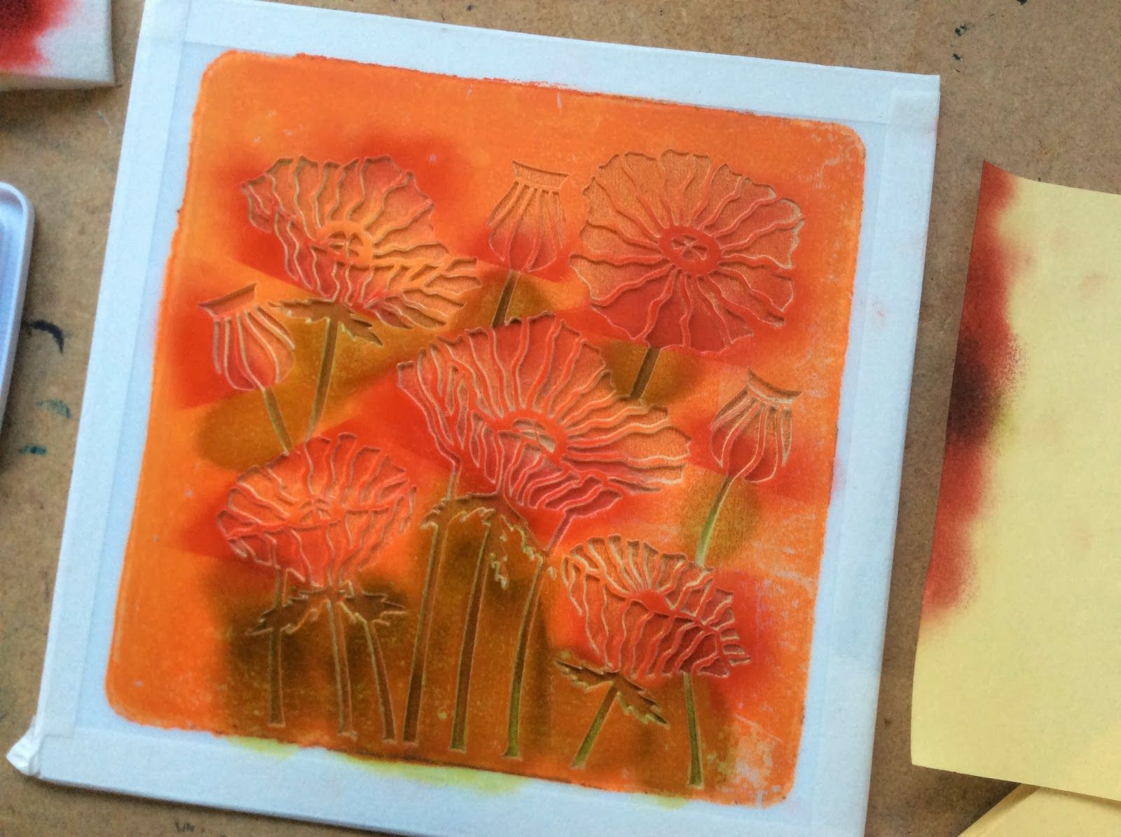 Barbara Gray's Blog. One Day at a Time.: New Poppies, served on a Gelli Plate