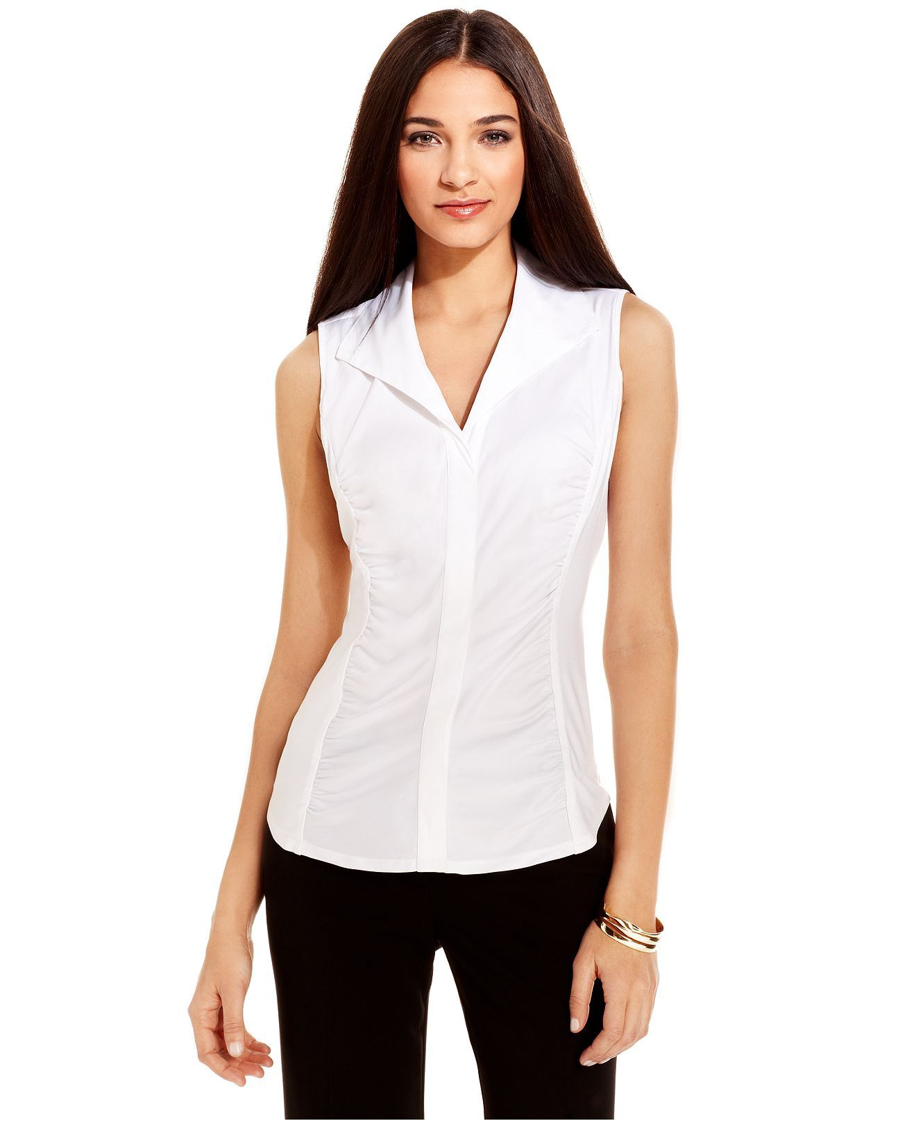 Alfani Top Sleeveless Button Front Ruched Shirt Womens