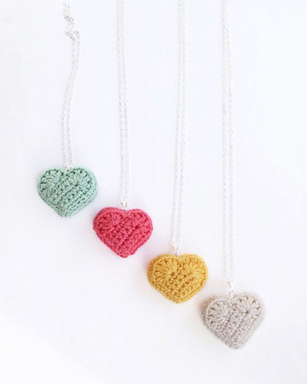 heart necklace, crochet heart rainbow colours, crochet heart pendant necklace cute kawaii, mothers day, childrens necklace. £6,50, via Etsy.