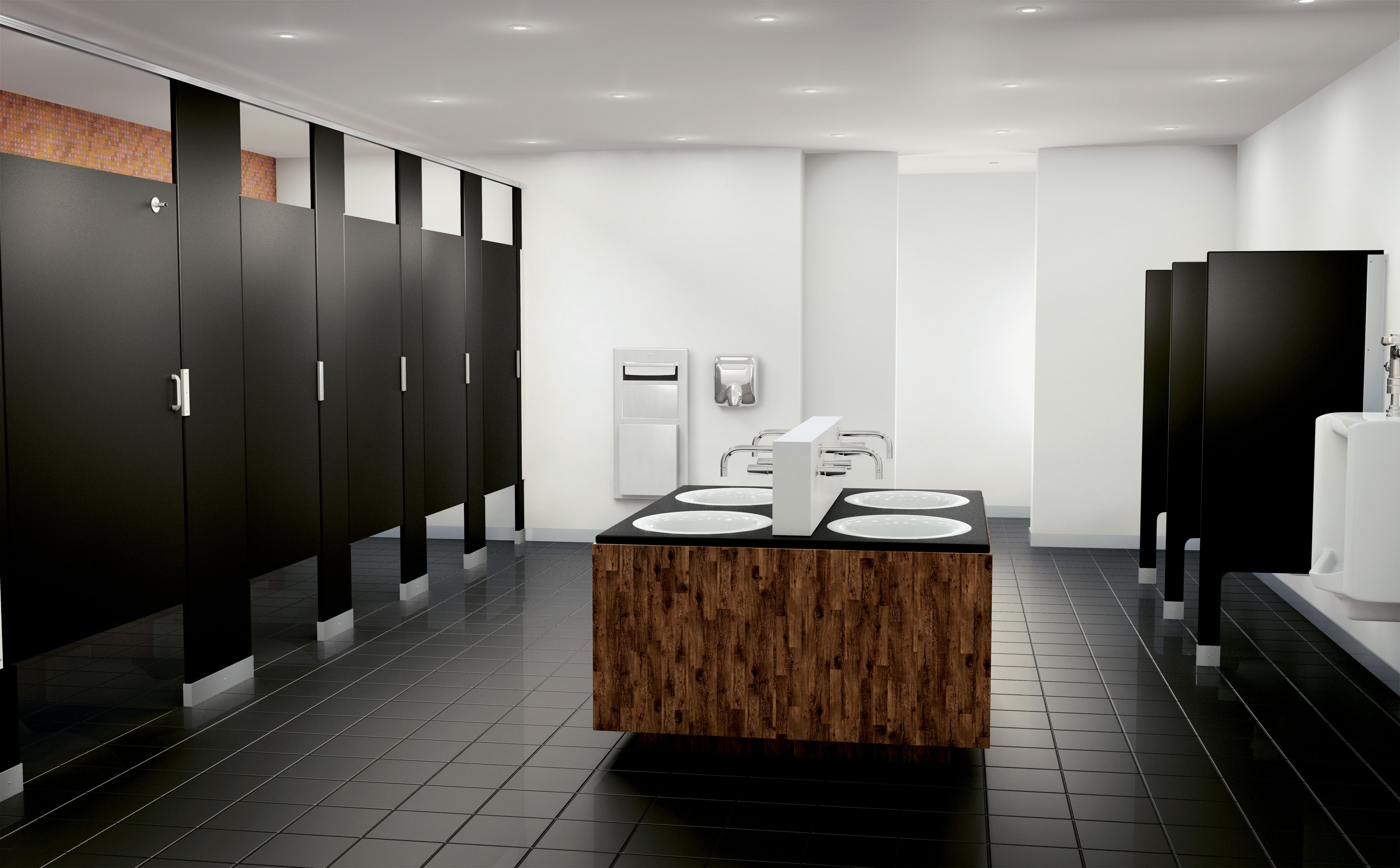 Scranton products hiny hider partitions in black with a for Bathroom partition hardware near me