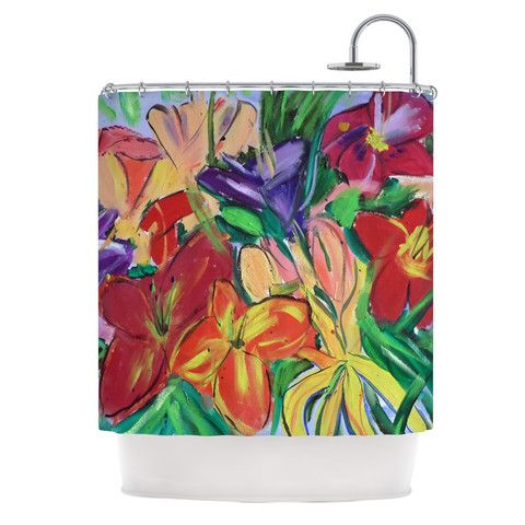 """Cathy Rodgers """"Matisse Styled Lillies"""" Rainbow Flower Shower Curtain 