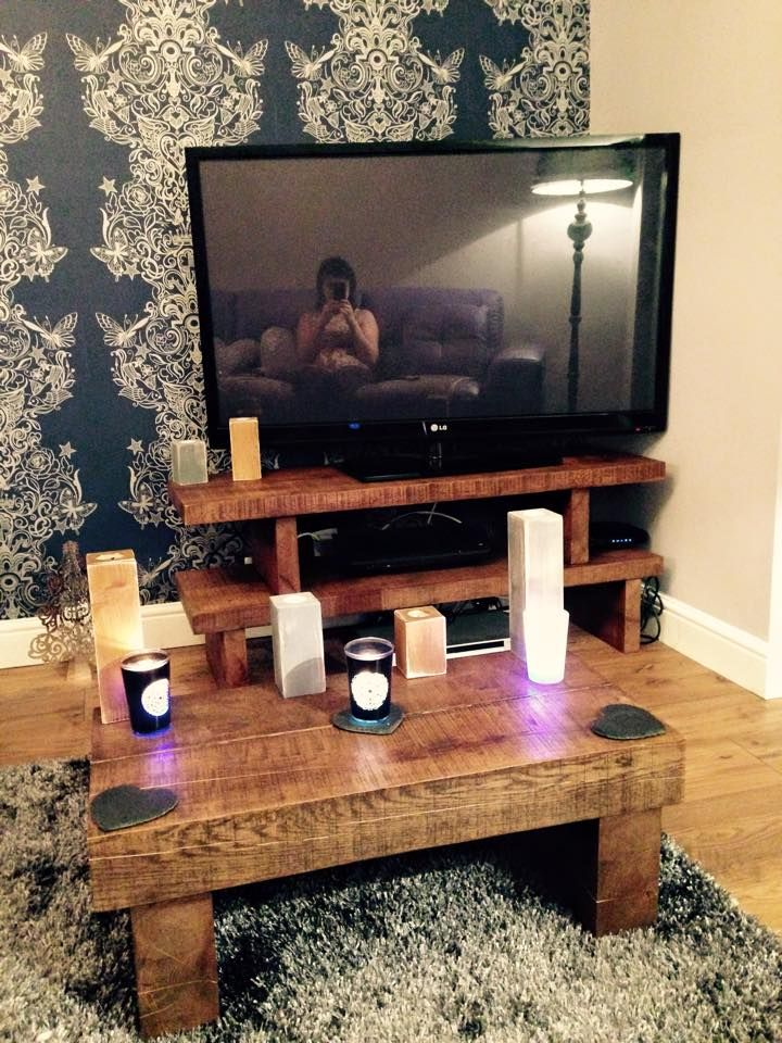 Customer order solid oak tv stand matching coffee table for Matching tv stand and coffee table
