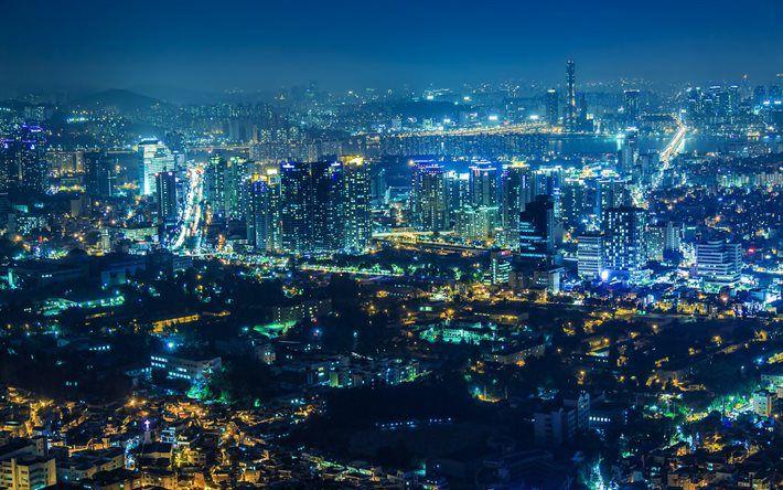 Download Wallpapers Seoul Night Skyscrapers South Korea Korea