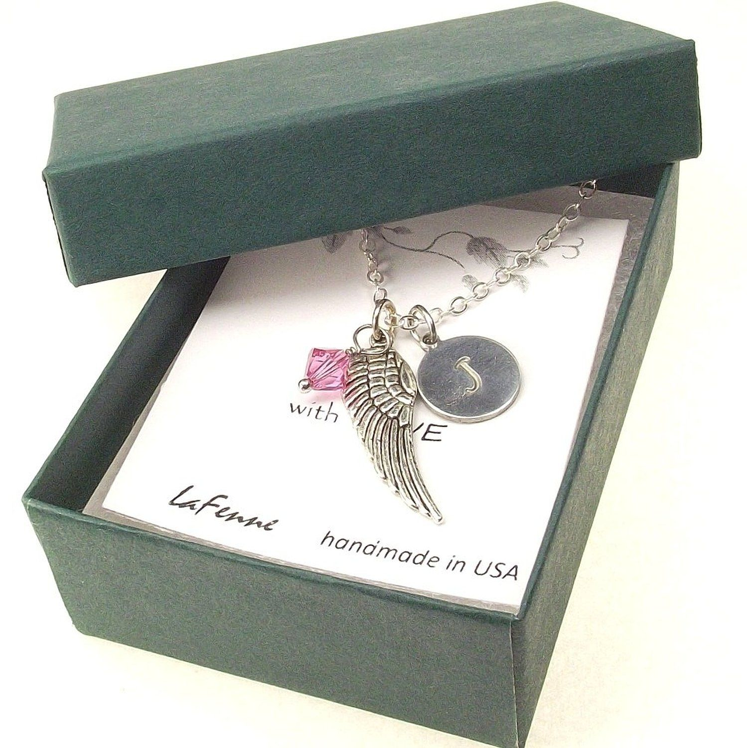Personalized Dainty Initial Disk Swarovski Birthstone Crystal Angel Wing Necklace Customizable Letter and Birth Month Color Crystal *** Find out @ http://www.amazon.com/gp/product/B017WUHLPW/?tag=jewelry163-20&pyx=190716123434