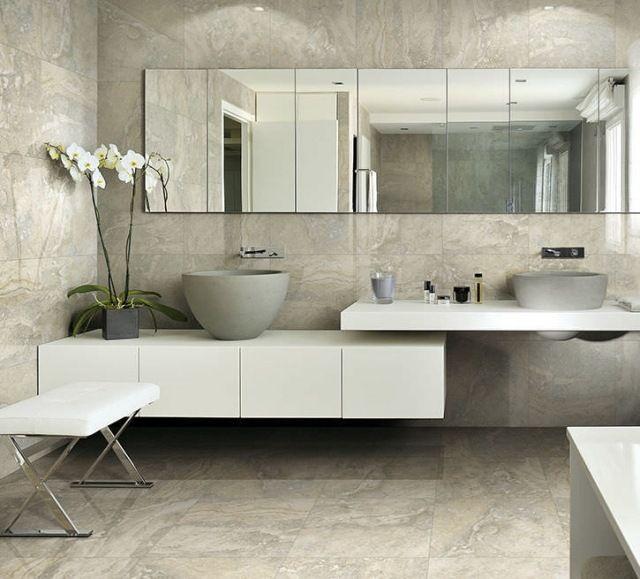 carrelage de salle de bains: 57 idées pour les murs et le sol ... - Carrelage Mur Et Sol Salle De Bain