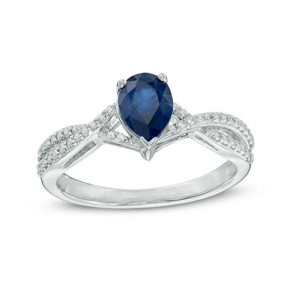 Zales Pear-Shaped Blue Sapphire Engagement Ring in 10K White Gold with Diamond Accents UtQI1