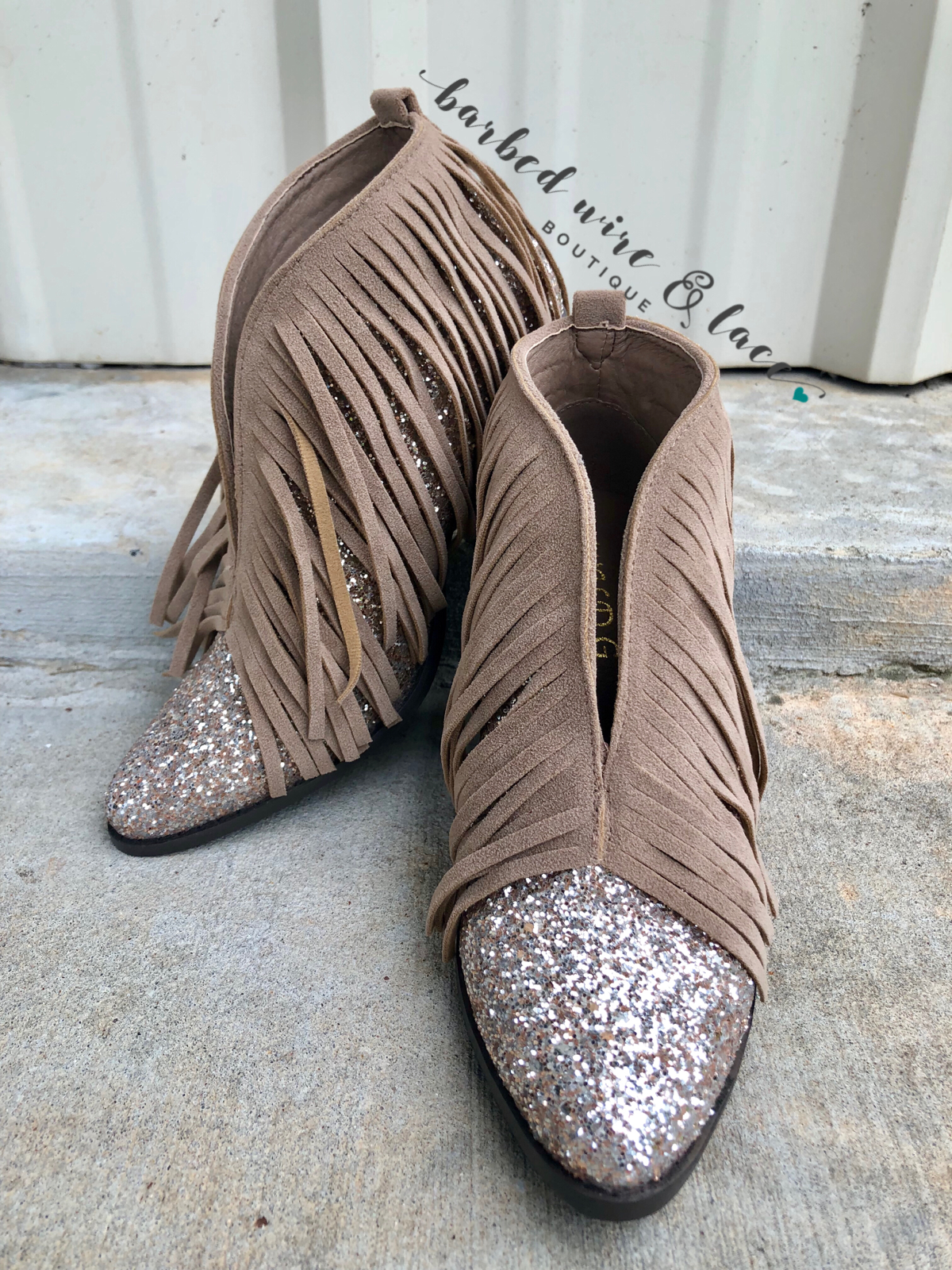 f3fe897c31bd Taupe Glitter Fringe Booties SIZE 8.5 PLEASE