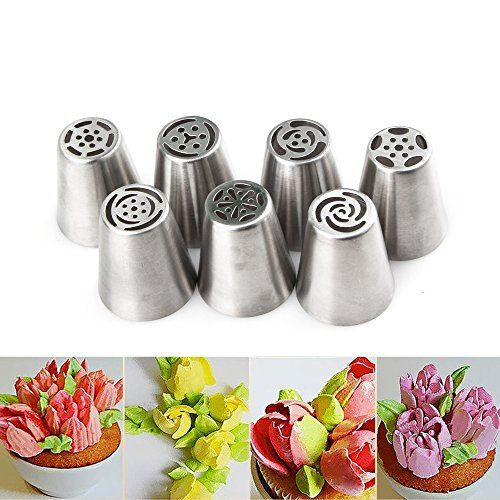 aokur 7 Piece Cake Baking Decorating Set Stainless Steel Russian DIY Pastry Icing Piping Nozzles Tips >>> To view further for this item, visit the image link.