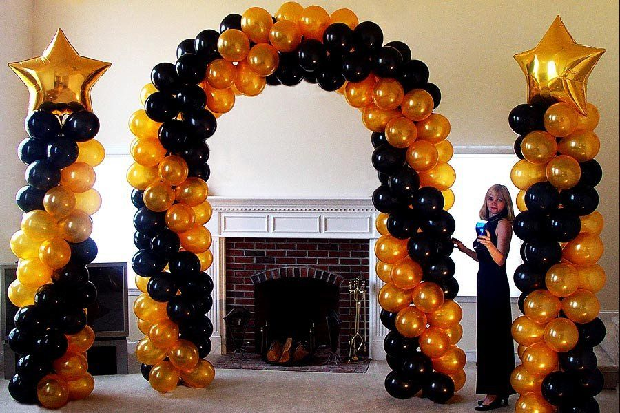 Gold And Black Balloon Arch And Columns The Most