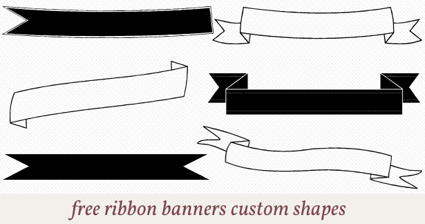Free Ribbon Banners Custom Shapes For Photoshop Scrapbooking