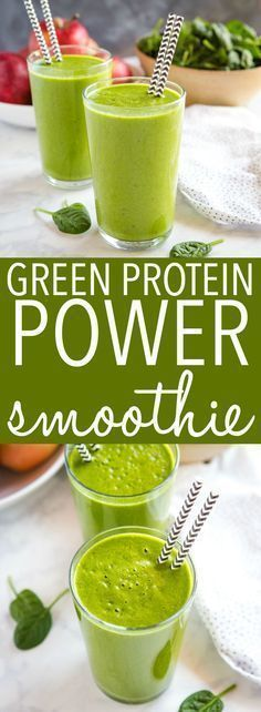 This Healthy Green Protein Smoothie makes the perfect healthy breakfast or post-workout snack! It's...