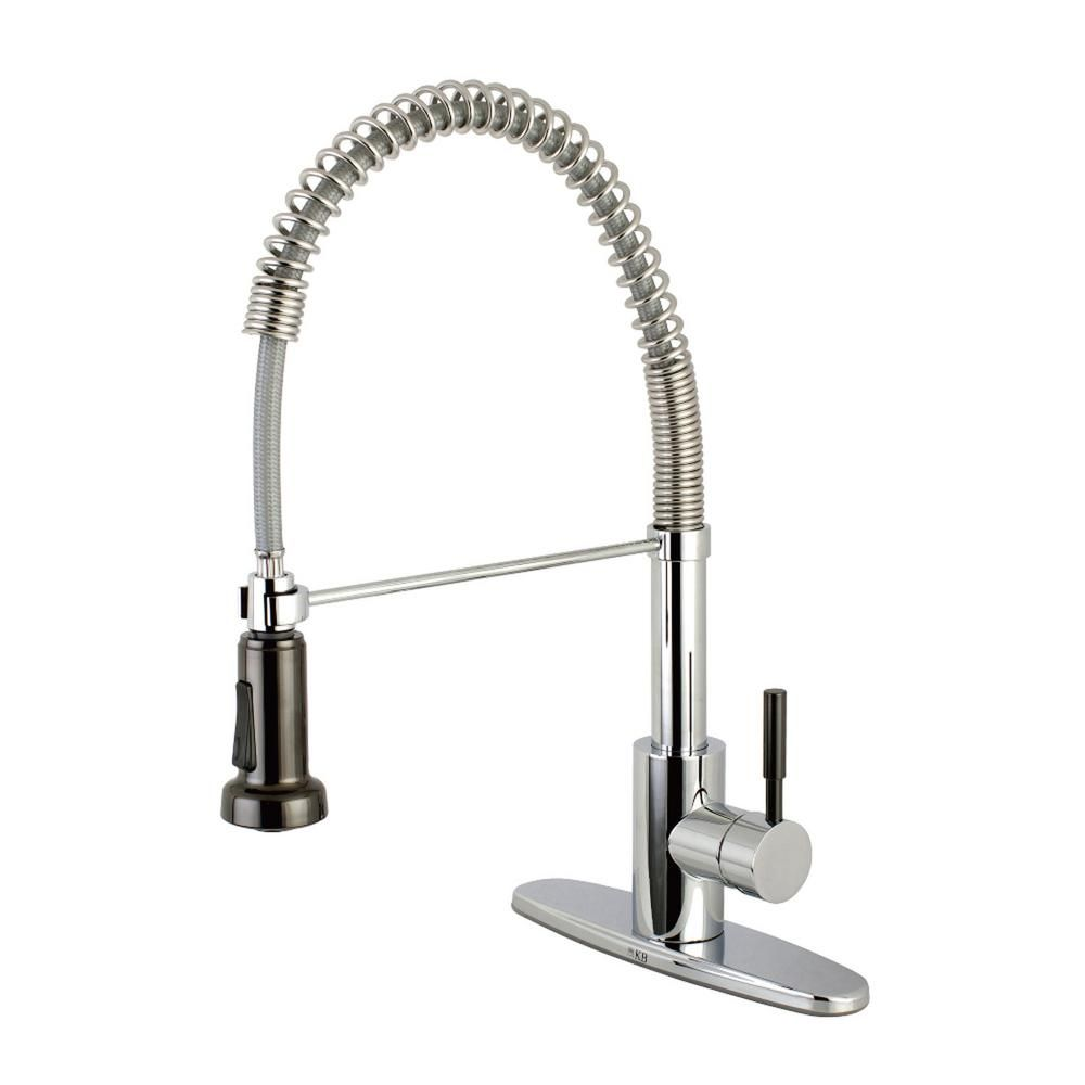 Kingston Brass Modern Single Handle Pull Down Sprayer Kitchen Faucet In Chrome And Black Stainless Steel Stainless Steel Faucets Kingston Brass Kitchen Faucet