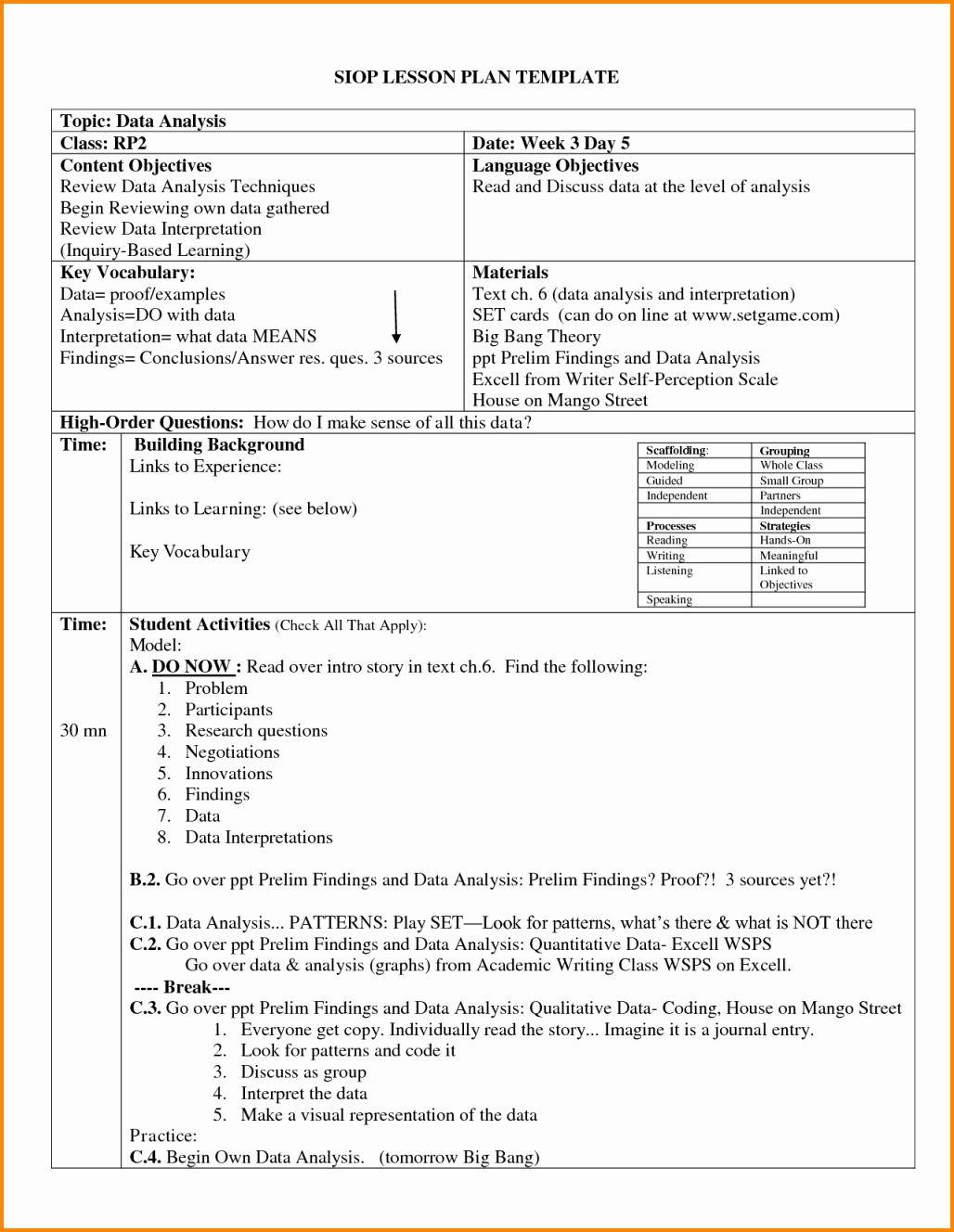 29 Siop Lesson Plan Template in 2020 (With images