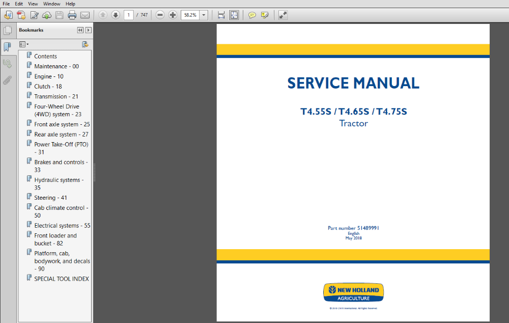 New Holland T4 55s T4 65s T4 75s Tractor Service Repair Manual 51489991 Pdf Download Repair Manuals New Holland Hydraulic Systems