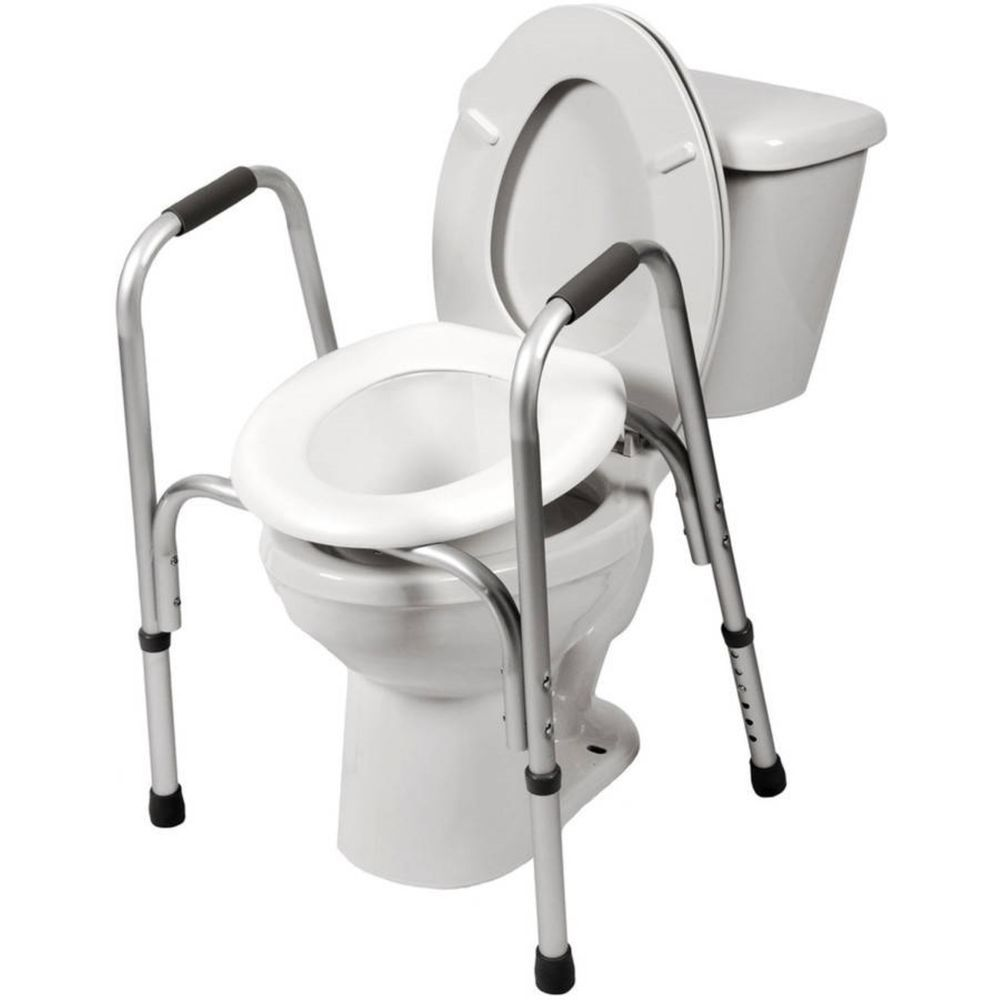 Adjustable Raised Toilet Bathroom Seat With Safety Frame Grab Bars