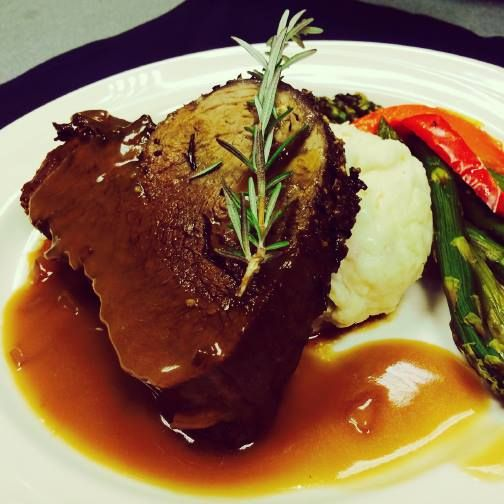 Today S Plated Feature Beef Tenderloin Loaded Mashed Potatoes Grilled Asparagus With Red Pepper
