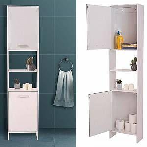 IDMARKET Meuble colonne salle de bain en bois design blanc