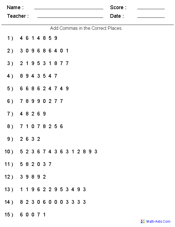 math worksheet : adding commas worksheets  generate as many versions as you want  : Generate Math Worksheets