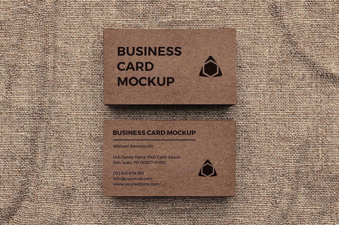 Kraft Paper Business Card Mockup Business Card Mock Up Business Cards Mockup Psd Edge Painted Business Cards