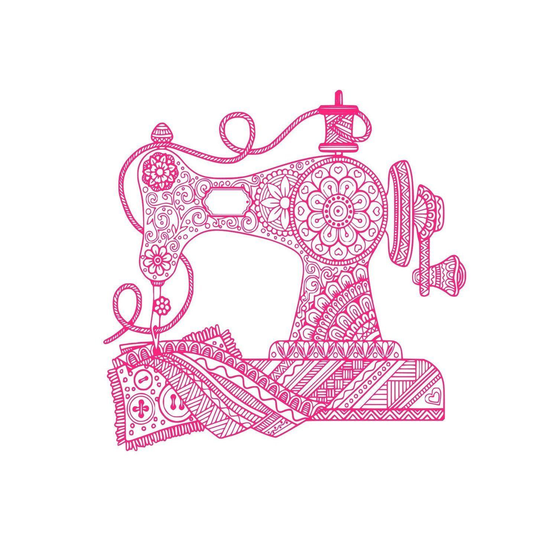 Sewing Machine Zentangle (SVG, JPG, Digital Download
