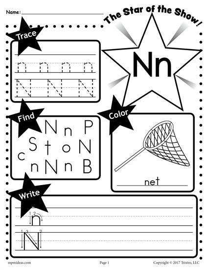 Free Letter N Worksheet Tracing Coloring Writing More