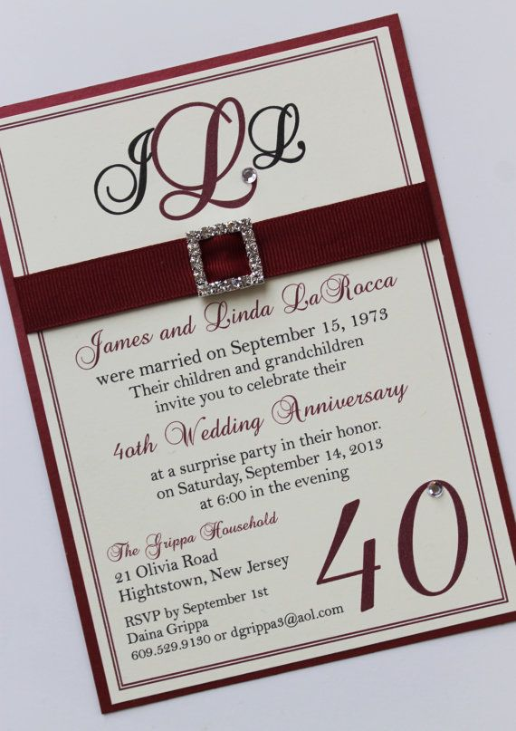 Ruby 40th Wedding Anniversary Invitation By Atouchofsunshine1 3 50 40th Wedding Anniversary 40th Wedding Anniversary Party Ideas Ruby Wedding Anniversary