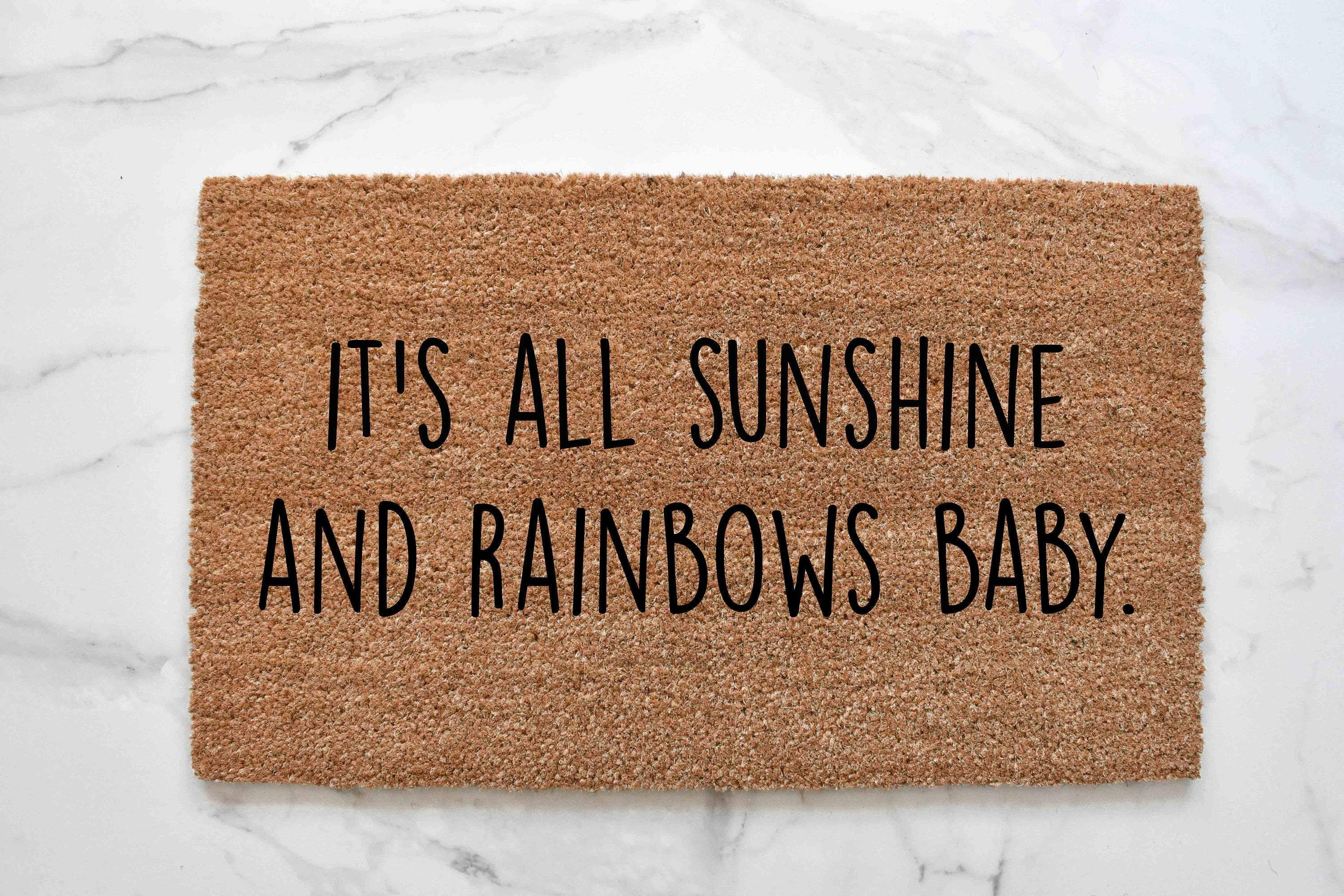 It's All Sunshine And Rainbows Baby Doormat - 24x36 NATURAL COIR