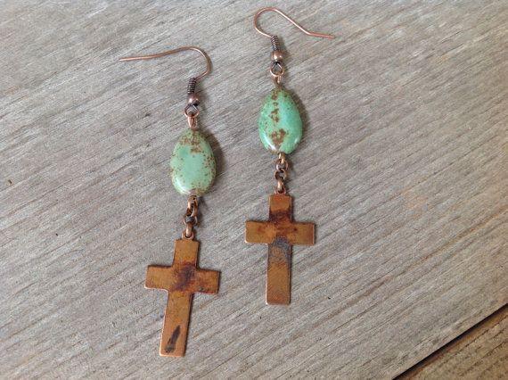 Oxidized Copper Cross and Turquoise Earrings by simplepleasurestx
