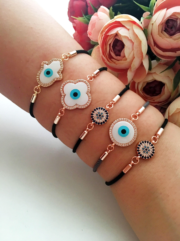 Mother of pearl bracelet evil eye jewelry clover bracelet adjustable bracelet nazar boncuk bracelet hamsa bracelet evil eye bracelet