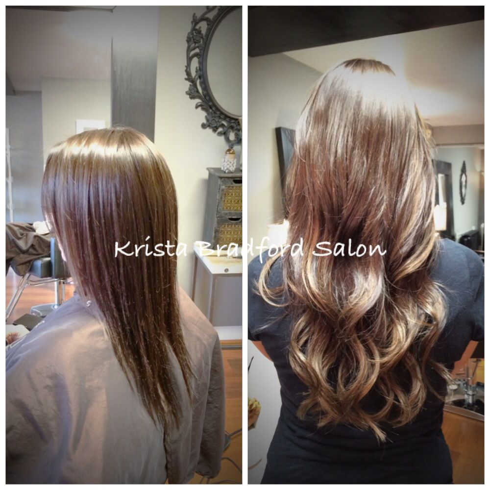 Long Wavy Brunette Hair Hair Extensions Before After Chicago Hair