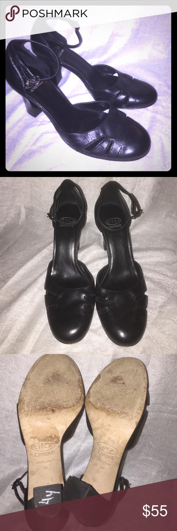 Joan & David Platforms Genuine Leather Gorgeous black Joan and David platform heels with ankle strap in good condition size 7M Joan & David Shoes Platforms