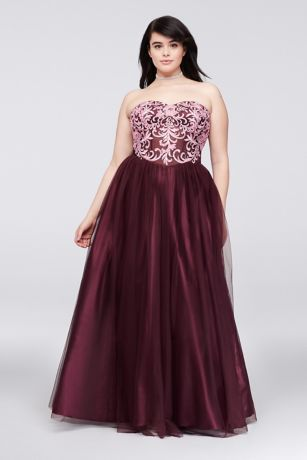 embroidered illusion corsetbodice plus size gown  david