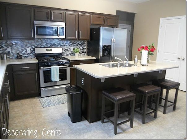 Remodelaholic Sleek Dark Chocolate Painted Cabinets Brown Kitchen Cabinets Home Kitchens Painting Kitchen Cabinets