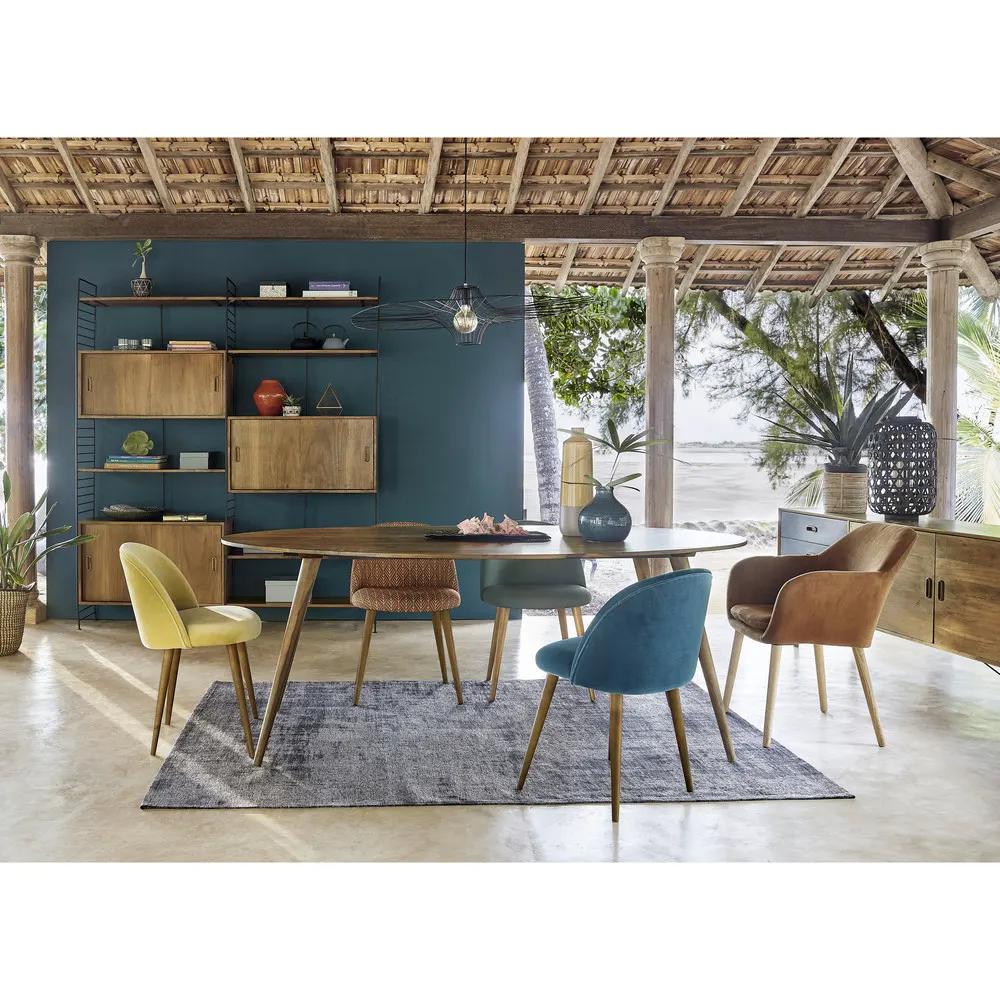 Tavolo ovale in massello di legno di sheesham per sala da ...