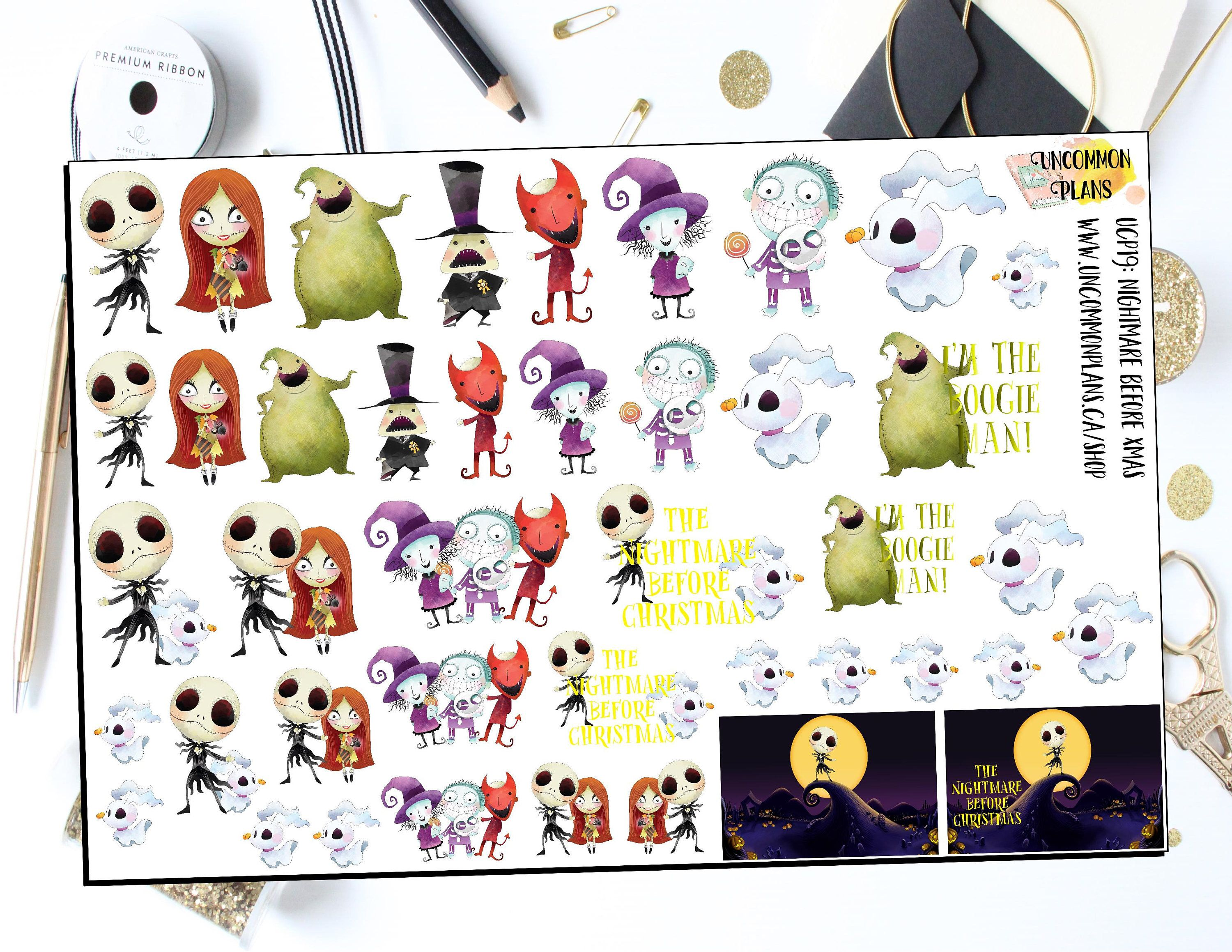 The Nightmare Before Christmas Stickers, Fun Kawaii Planner Stickers ...