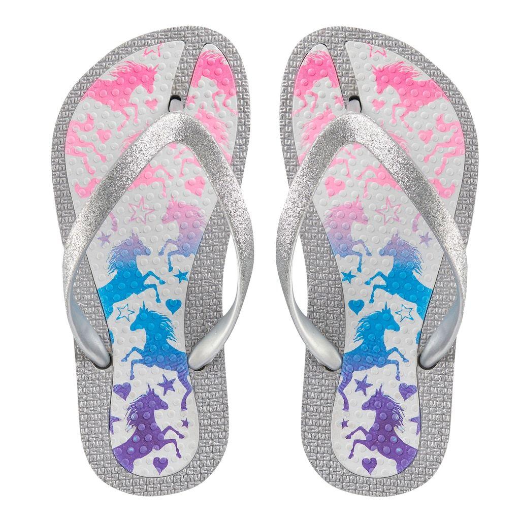 Elli by Capelli Unicorn Rainbow Glitter Flip Flops Girls 4-16