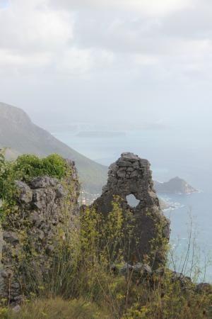 The ruins high above Maratea, Italy Monte San Biagio