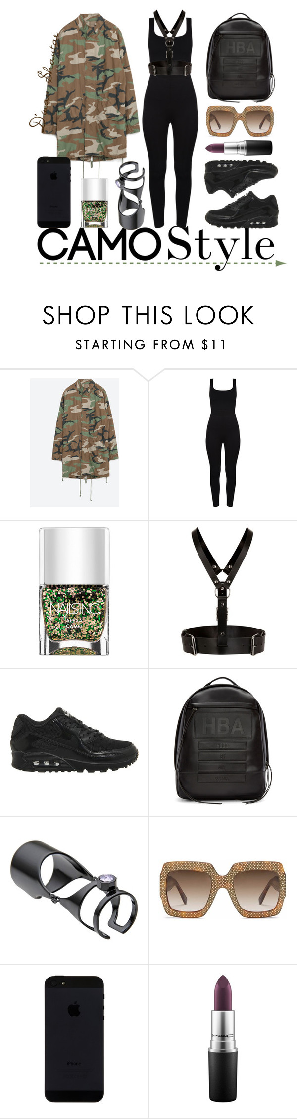 """""""Camo Style"""" by adswil ❤ liked on Polyvore featuring Zara, Nails Inc., Zana Bayne, NIKE, Hood by Air, Maria Francesca Pepe, Gucci, MAC Cosmetics, StreetStyle and black"""