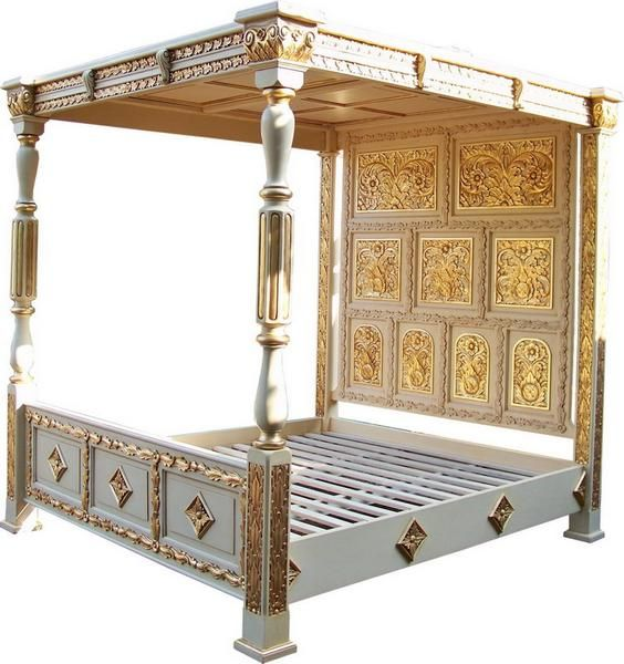King Size 4 Poster Bed Part - 46: The Tudor Style Carved Four Poster Bed By Lock Stock And Barrel Furniture  Is Hand Carved From Solid Mahogany And Features A Full Headboard And Top  Canopy.