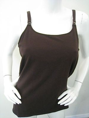 ef6b5cadd44dc Nursing Tank Top Dark Brown Full Sling Shelf Bra Gilligan & O'Malley NEW L