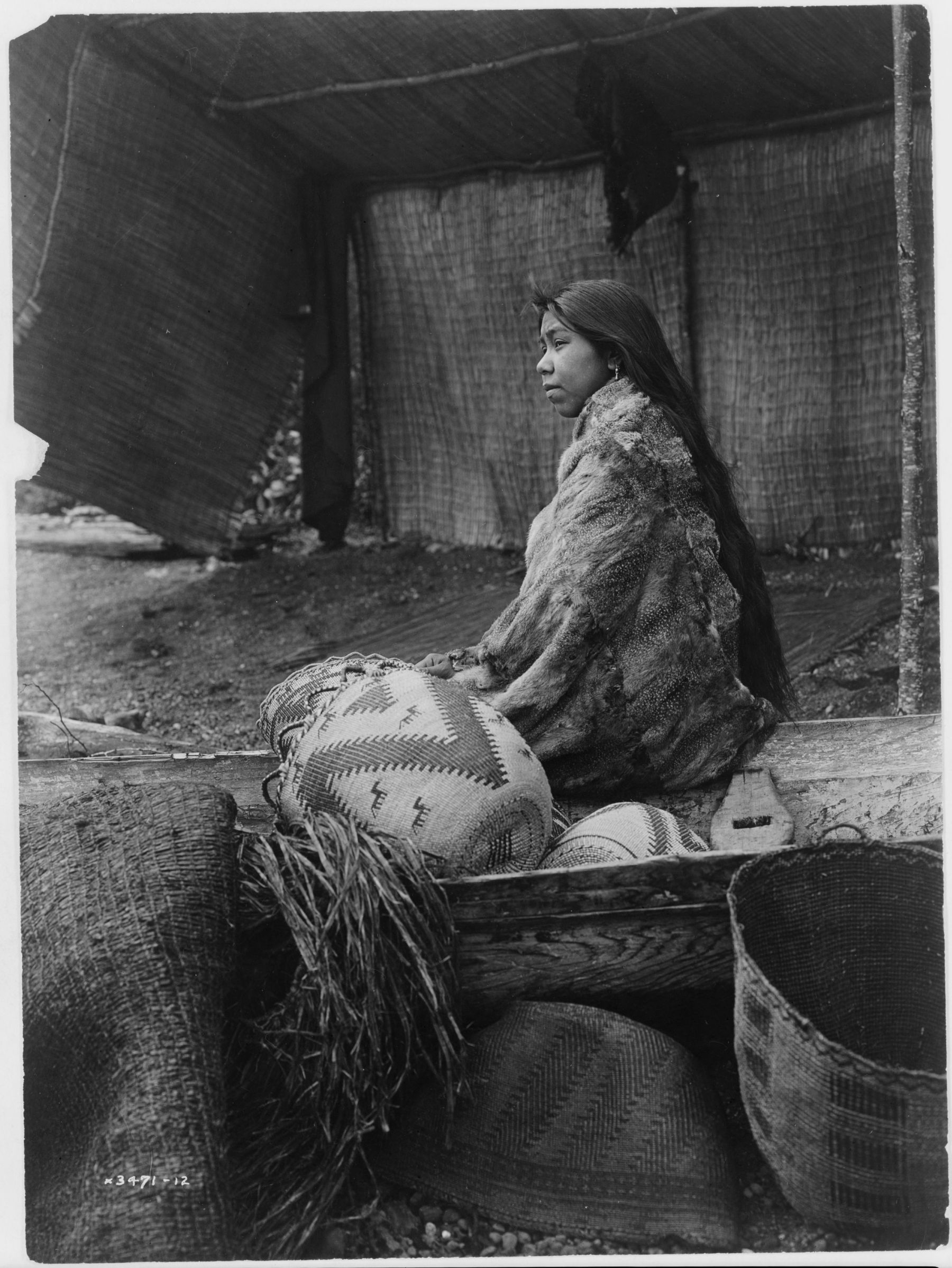 +~+~ Antique Photograph ~+~+  Skokomish Indian Chief's Daughter with baskets by Edward Sheriff Curtis.