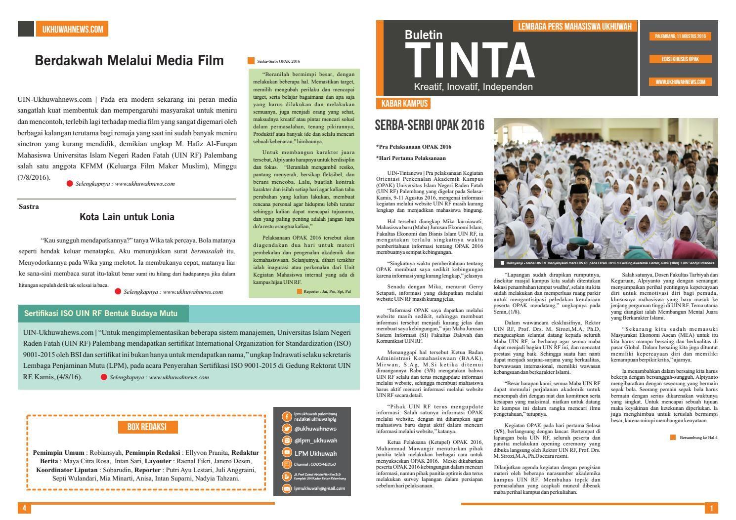 Buletin Tinta Edisi 33 (Edisi Khusu OPAK)