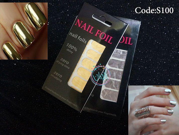 استكرات الاظافر المعدنية فويل متوفر لون فضي و ذهبي السعر 10 ريال سعودي Foil Nails Book Cover Coding