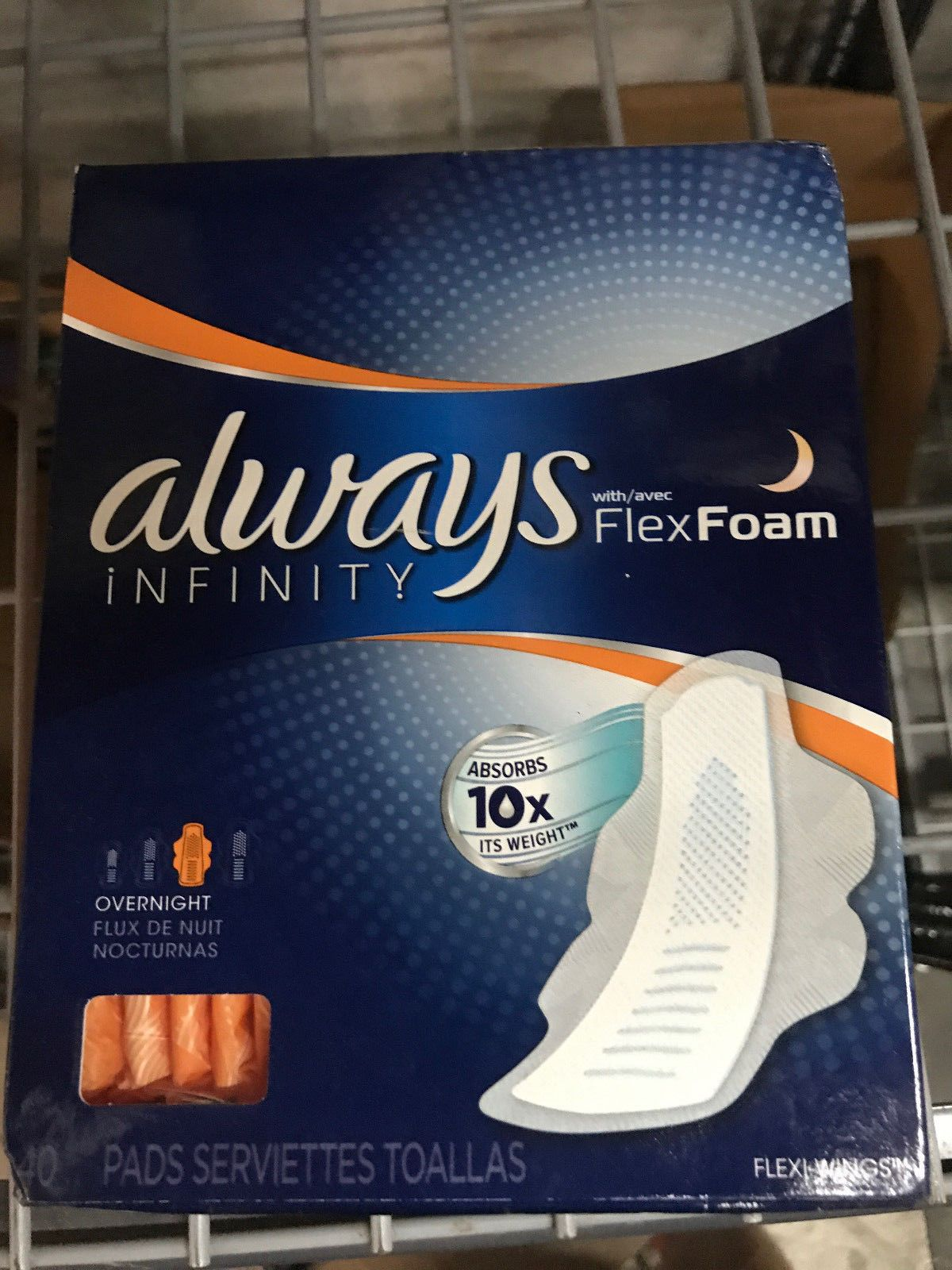 always infinity pads with flexfoam wings overnight 40 count new